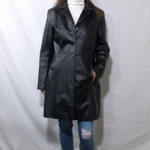 Danier black leather blazer coat with brown stitch
